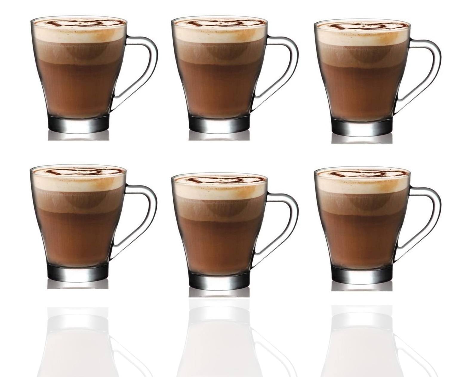 Set of 6 Hot Chocolate Cup Glass 260ml