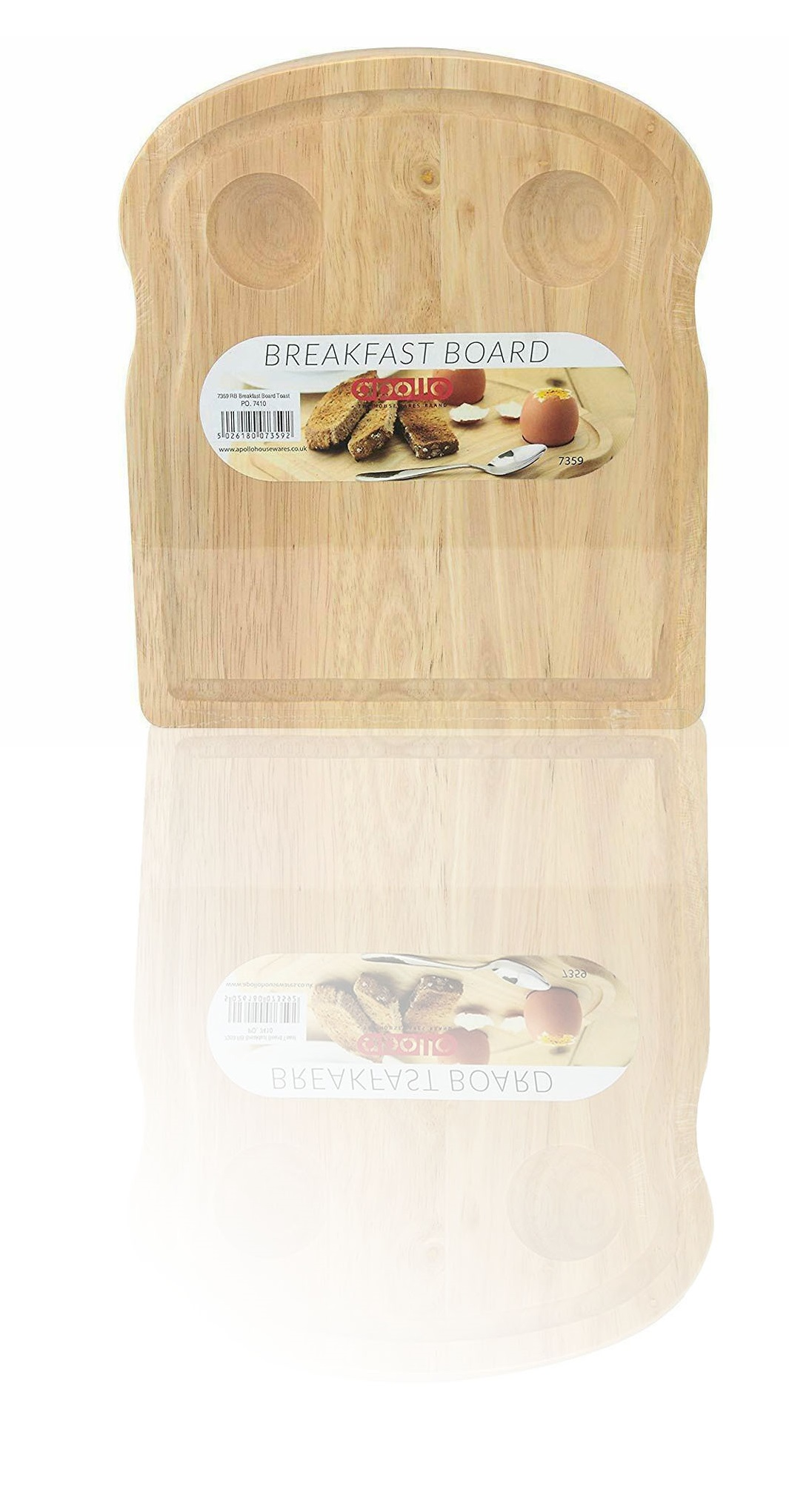 Rubberwood Breakfast Board Toast Shaped Serving Tray with Egg Holders