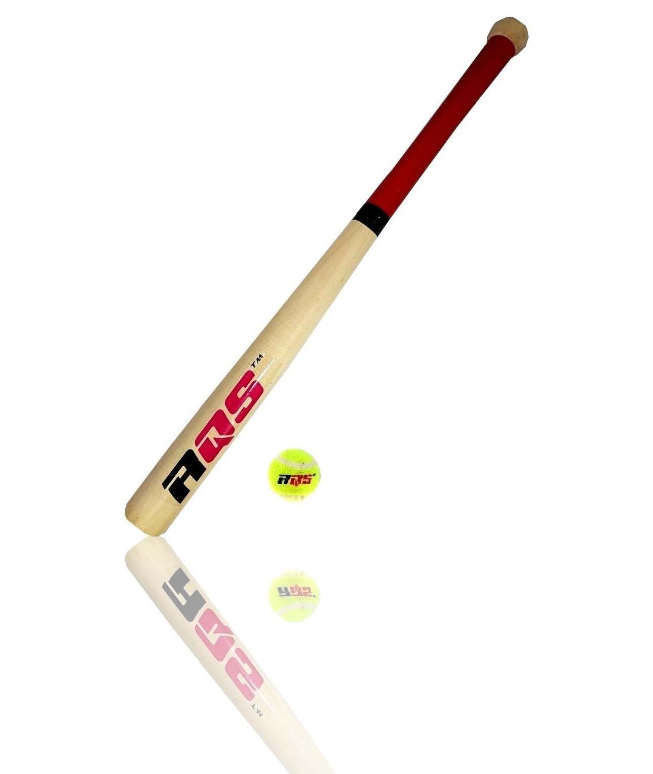 """17"""" Wooden Baseball Bat & Soft Tennis Ball"""