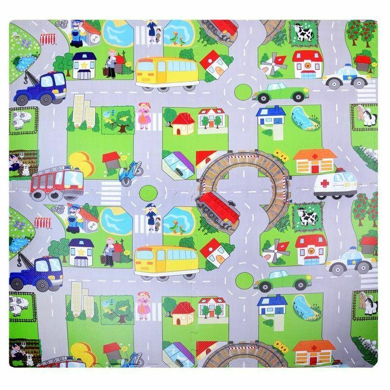 Interlocking City Puzzle Eva Mat 4 Tiles (16 Square Feet)